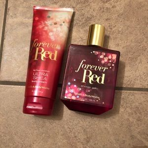 New forever red bath & body works lotion & shower